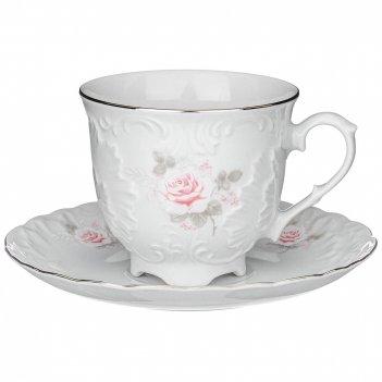 Чайная пара рококо нежная роза платина 250 мл
