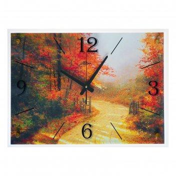 Часы настенные, серия: природа, осенняя дорога, 40х56 см микс
