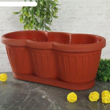 Ящик для цветов с поддоном 40 см гусеница, цвет микс