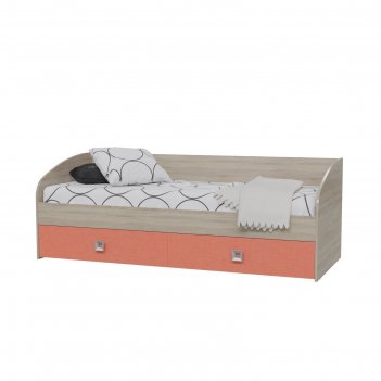 Кровать односпальная с двумя ящиками сити 2045*850*735 дуб сонома/коралл