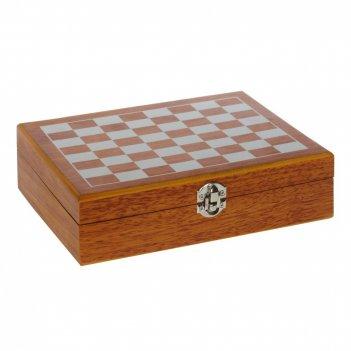 Набор подарочный (шахматы, кубики, карты, фляжка 200 мл, стопка 30 мл, вор