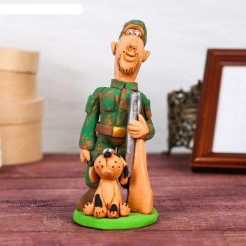 Статуэтка охотник с ружьем и собакой, микс, ручная работа