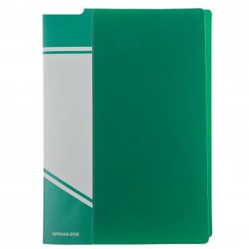 Папка с 20 прозрачными вкладышами а5, зелёная