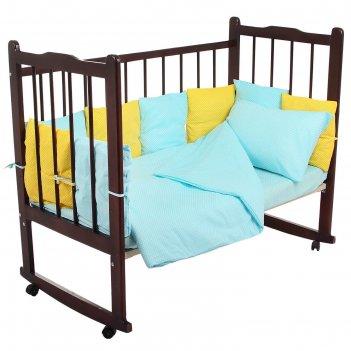 Комплект в кроватку 4 предмета мозаика, цвета бирюзовый/жёлтый 10407