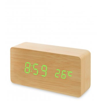 Ял-07-09/ 1 часы электронные (жёлтое дерево с зелёной подсветкой)