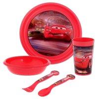 Набор детской пластиковой посуды тачки, 5 предметов: стакан, миска, тарелк
