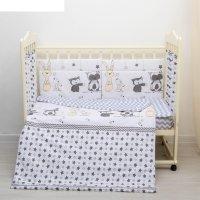 Комплект в кроватку 6 пр. лесные друзья, цвет серый, бязь, хл100%