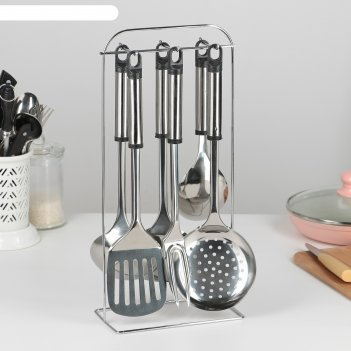 Набор кухонных принадлежностей помощник 6 предметов, на подставке