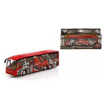 Машина мет. ин. 1:32 автобус гонка, откр.двери, свет, звук