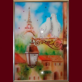 Картина сваровски - голуби в париже