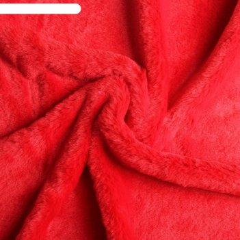 Мех искусственный, размер 40x50 см, цвет красный