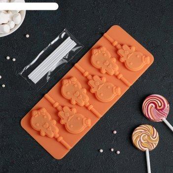 Форма для льда и шоколада 6 ячеек девочка, мальчик 24х9,5х1 см, 6 палочек