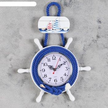 Часы настенные, серия: море, штурвал, 25х23 см