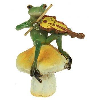 Фигурка декоративная лягушонок-музыкант 7*6*10см (уп.1/96шт.