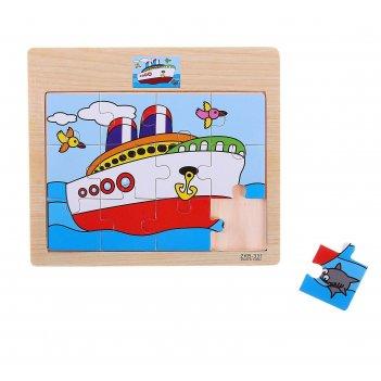 Пазл малый пароход, 12 элементов