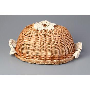 Хлебница с крышкой овальная в комплект входит салфетка 35*25 см. (кор=18шт
