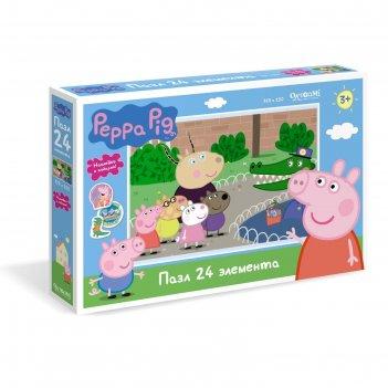 Пазл 24 эл. свинка пеппа. день в зоопарке + наклейки 04285