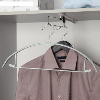 Вешалка-плечики с перекладиной антискользящая, дугообразная, цвет серый