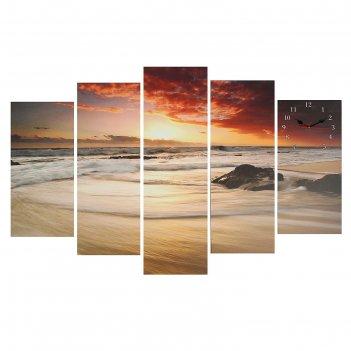 Часы настенные модульные «закат на море», 80 x 140 см