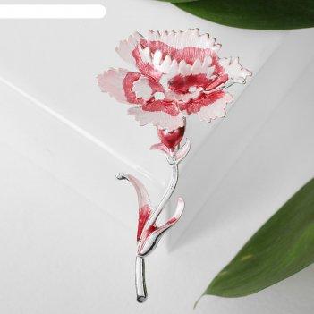 Брошь цветок гвоздика, цвет розовый в серебре