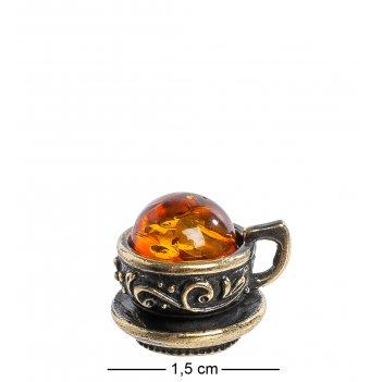 Am-1107 магнит чашечка маленькая (латунь, янтарь)
