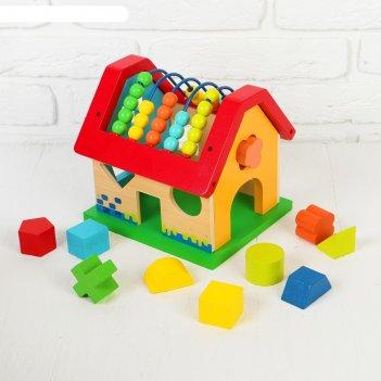 Сортер с серпантинкой радужный домик