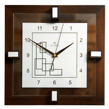 Настенные часы d-03  темный орех 310х310х40 мм