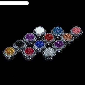 Блёстки для декора ногтей, 12шт, разноцветный