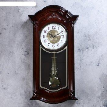 Часы настенные, серия: маятник, кале d=18 см, 35х68х13 см, плавный ход, 2