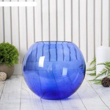 Ваза шар синяя (без декора) 18*16см