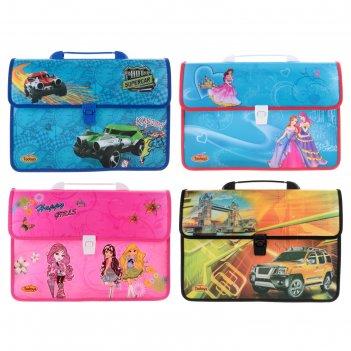 Папка-портфель а4 дет на замке с ручкой девочки / машины микс (сплош рис)