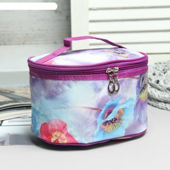Косметичка-сундучок на молнии цветы, 1 отдел, ручка, зеркало, цвет фиолето