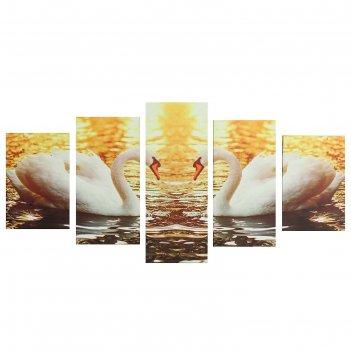 Модульная картина на подрамнике лебеди, 2 — 20x30, 2 — 20x40, 1 — 20x50, 5