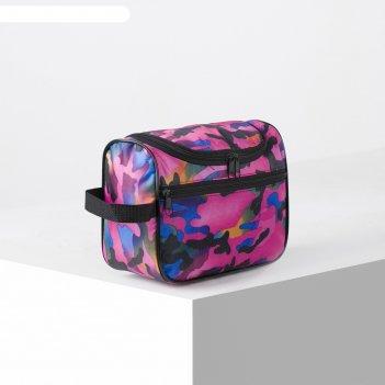 Косметичка-сумка , 23,5*9,5*15, отд на молнии, н/карман, ручка, принт каму