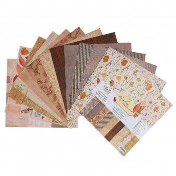 Набор бумаги для скрапбукинга старые письма 12 листов, 30,5х30,5 см, 250гр