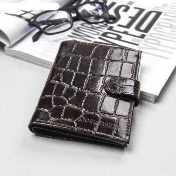 Обложка автодокументы+паспорт+бумажник, натуральная кожа, коричневый скат