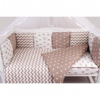 Комплект в кроватку royal baby, коричневый, 15 предметов, бязь