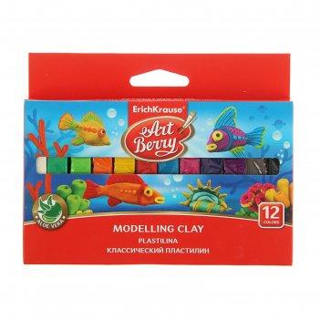 Пластилин 12 цветов 180г artberry, с алоэ вера, индивидуальная упаковка бр