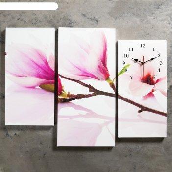 Часы настенные модульные «веточка с фиолетовыми цветами», 60 x 80 см