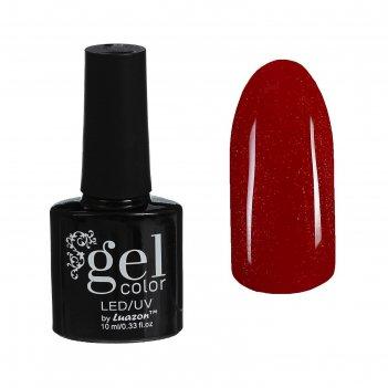 Гель-лак для ногтей трёхфазный led/uv, с блёстками, 10мл, цвет в2-087 крас
