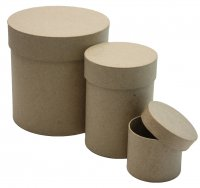 Набор из 3-х коробочек из папье-маше, круг, макс. 12,5 х 13 см