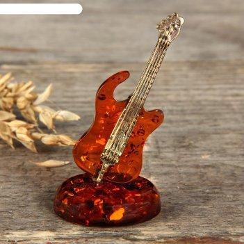 Сувенир из латуни и янтаря гитара  микс