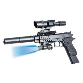 Пистолет мех., прицел, глушитель, фонарь, 210мм., кор.