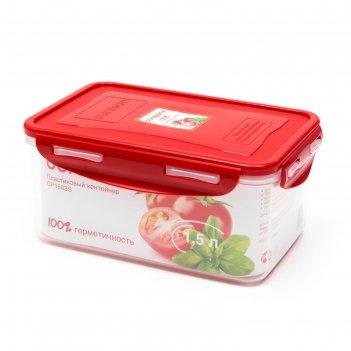 Пластиковый контейнер oursson, cp1503s/rd, красная крышка, 1,5 л, прямоуго