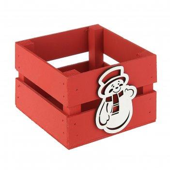 Ящик реечный «снеговик» (декор) ,13х13х9 см, красный