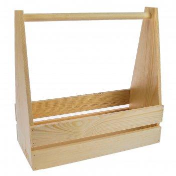 Кашпо деревянное таёжный, двухреечное, с ручкой, натуральный