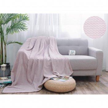 Плед royal plush, размер 180 x 200 см, цвет бледно-розовый, велсофт