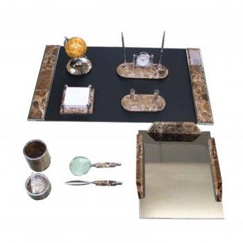 Набор настольный galant из исп.мрамора, 10 предметов+часы, серебристая отд