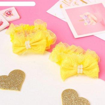 Резинка для волос рюши (набор 2 шт) банты с бусинками и кружево, жёлтый