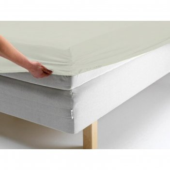 Простыня на резинке, размер 200х200х20 см, цвет молочный, трикотаж 125 г/м